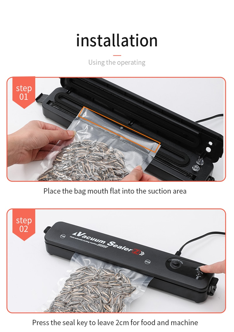 Kitchen Vacuum Food Sealer 220V/110V Automatic Commercial Household Food Vacuum Sealer Packaging Machine Include 10Pcs Bags