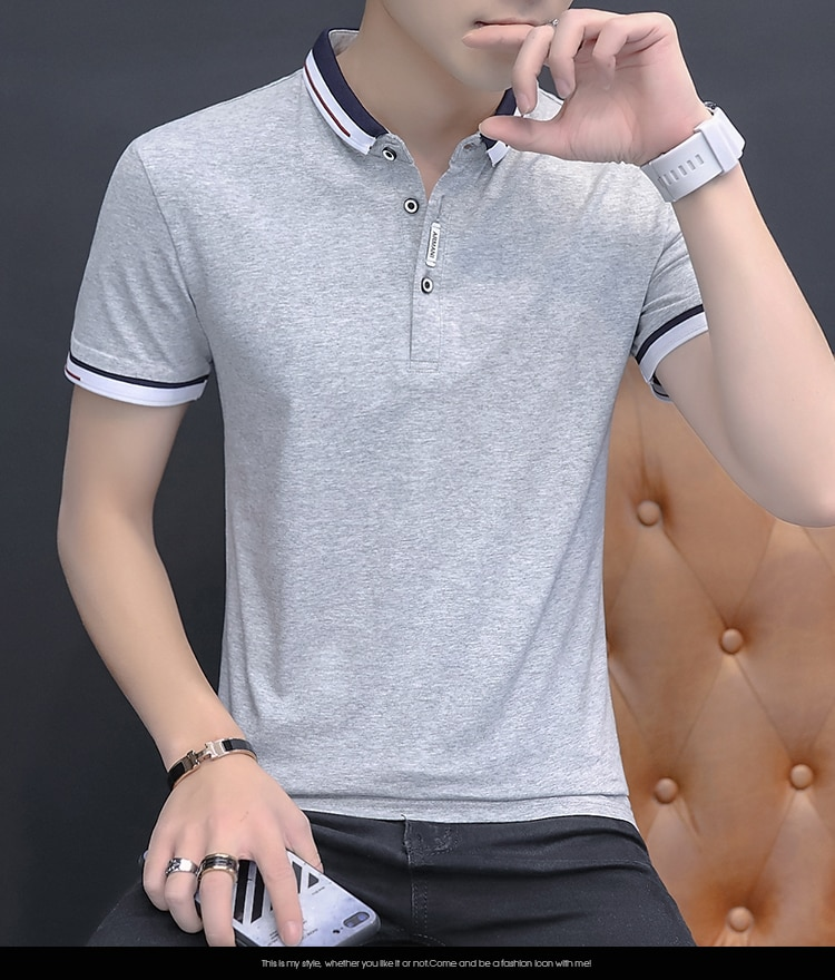 BROWON 2021 summer casual polo shirt men short sleeve turn down collar slim fit sold color polo shirt for men plus size